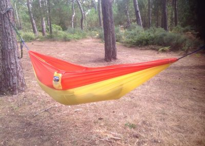 yellow and orange garden hammock