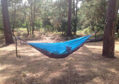 blue and grey garden hammock